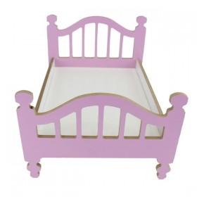 Oyuncak Bebek Yatağı Ahşap Obje Pembe 35cm