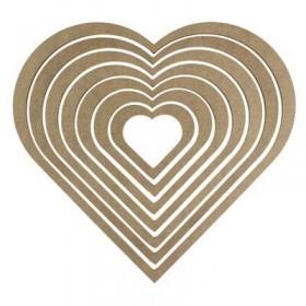 Kalp Makrome Kasnağı Ahşap 7'li Takım