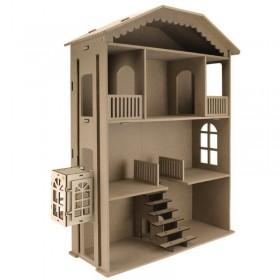 Asansörlü Büyük Barbie Evi 90cm Ahşap Obje (Demonte)