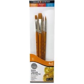 Daler Rowney Gold Taklon Synthetic 4'lü Fırça Seti - 402