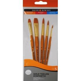 Daler Rowney Gold Taklon Synthetic 5'li Fırça Seti - 502