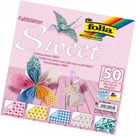 Folia Origami Kağıdı 20x20 cm. 5 Desen 50 Yaprak Sweet