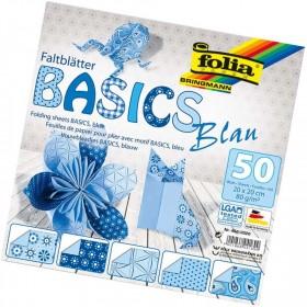 Folia Origami Kağıdı 20x20 cm. 5 Desen 50 Yaprak Basic Mavi