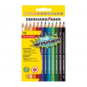 Eberhard Faber THE Winner Kalın Altıgen Kuruboya 4mm 12 Renk