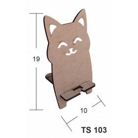 Mutlu Kedicik Telefon Standı Ahşap Obje