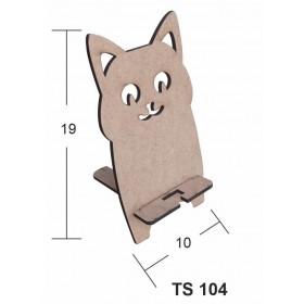 Sevimli Kedicik Telefon Standı Ahşap Obje