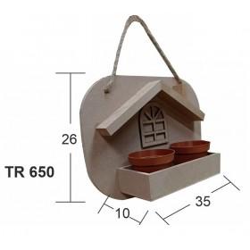 Çatılı Pencereli Model Saksılık Ahşap Obje
