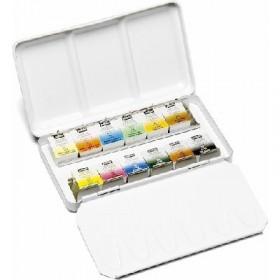 Pebeo Aquarelle Fine 1/2 Tablet Sulu Boya geleneksel klasik metal kutu içinde 12 klasik renk