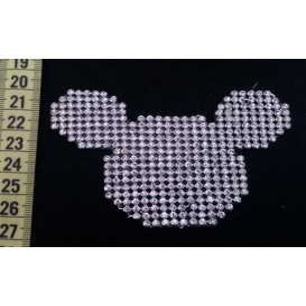 Mickey Mouse - Gümüş - Ütüyle Yapışan Taş