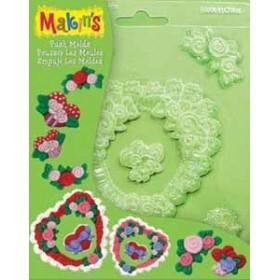 Makin's Clay Push Mold Şekilleme Kalıbı Kalpler ve Güller
