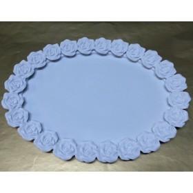 Polyester Oval Güllü Tepsi 38x29 cm