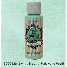 Cadence Style Matt Enamel  E-355 Açık Nane Yeşili  Cam & Porselen Boyası 59 ml