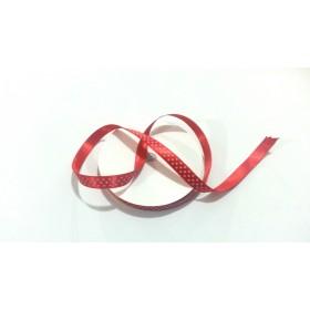 1cm Kırmızı üzerine Beyaz Puantiye Kurdele (10mt)