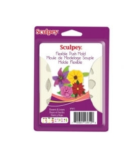 Sculpey Flexible Push Mold Esnek Model Kalıbı Flowers & Leaves