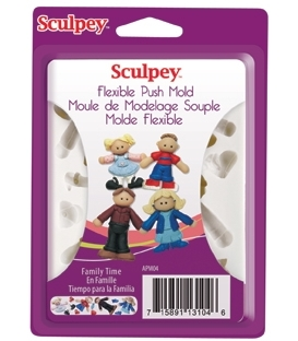 Sculpey Flexible Push Mold Esnek Model Kalıbı Family Time
