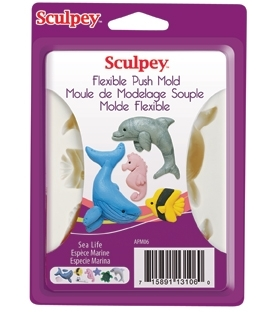 Sculpey Flexible Push Mold Esnek Model Kalıbı Sea Life