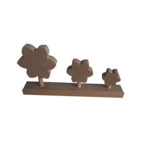 Papatya Üçlü Çiçek 24x11 cm. Ahşap Obje