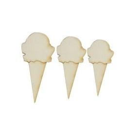 Lazer Kesim Ahşap Süs PS09 Külahta Dondurmalar