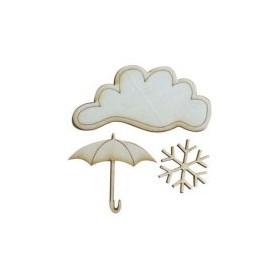 Lazer Kesim Ahşap Süs PS33 Bulut Şemsiye Kar Tanesi