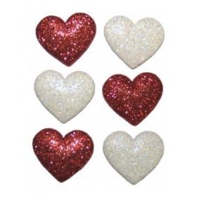 Dekoratif Düğmeler Büyük Simli Kalpler 5155