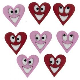 Dekoratif Düğmeler Gülen Kalpler 7706