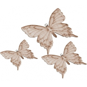 Üçlü Kelebek  Ahşap Obje
