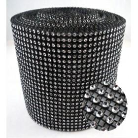 Siyah Gümüş Stras Çukur 24'lü Şerit 1 top