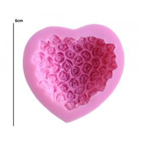 Silikon Kalıp Güllerden Kalp E-1